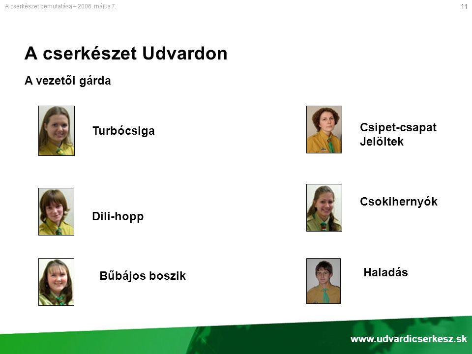 11 A cserkészet Udvardon A vezetői gárda A cserkészet bemutatása – 2006.