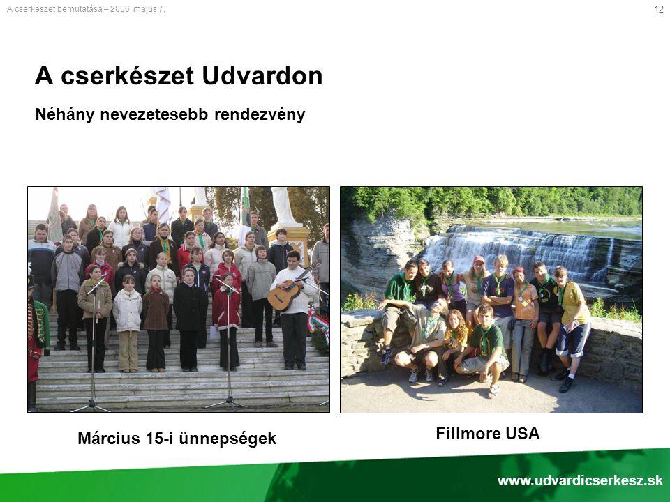 12 A cserkészet Udvardon Néhány nevezetesebb rendezvény A cserkészet bemutatása – 2006.