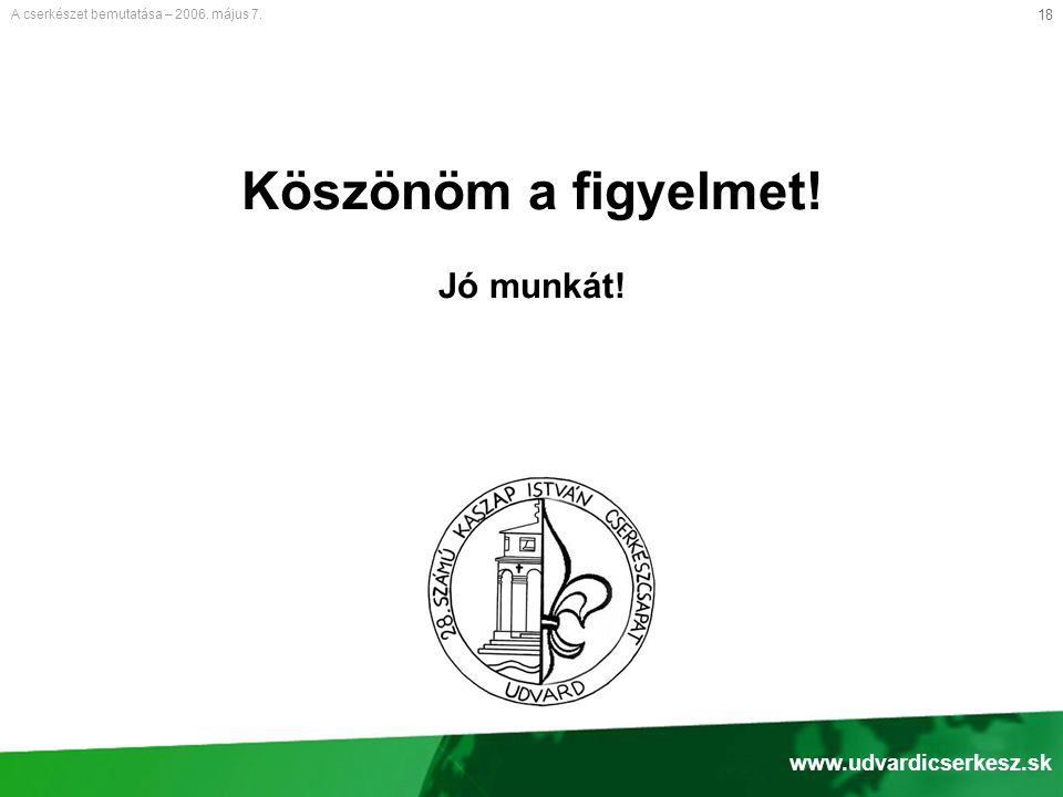 18 Köszönöm a figyelmet! Jó munkát! A cserkészet bemutatása – 2006. május 7. www.udvardicserkesz.sk