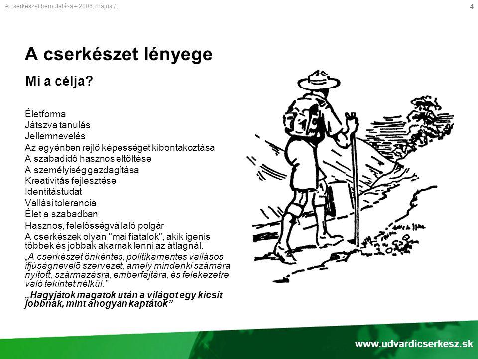 15 Tervek a jövőre nézve Javítani a cserkészprogramok minőségét A cserkészet bemutatása – 2006.