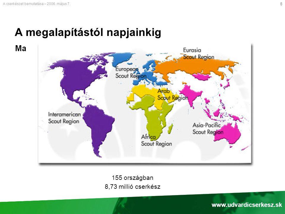 8 A megalapítástól napjainkig 155 országban 8,73 millió cserkész A cserkészet bemutatása – 2006.