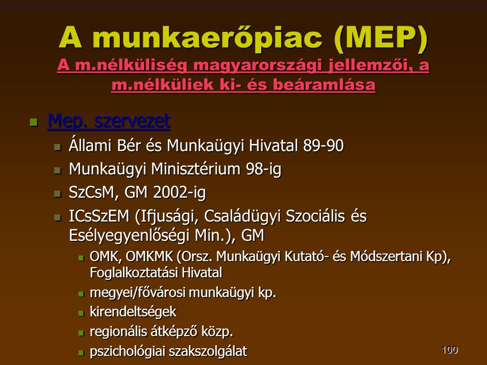 100 A munkaerőpiac (MEP) A m.nélküliség magyarországi jellemzői, a m.nélküliek ki- és beáramlása  Mep. szervezet  Állami Bér és Munkaügyi Hivatal 89