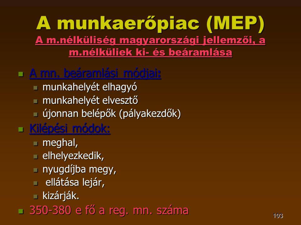 103 A munkaerőpiac (MEP) A m.nélküliség magyarországi jellemzői, a m.nélküliek ki- és beáramlása  A mn. beáramlási módjai:  munkahelyét elhagyó  mu