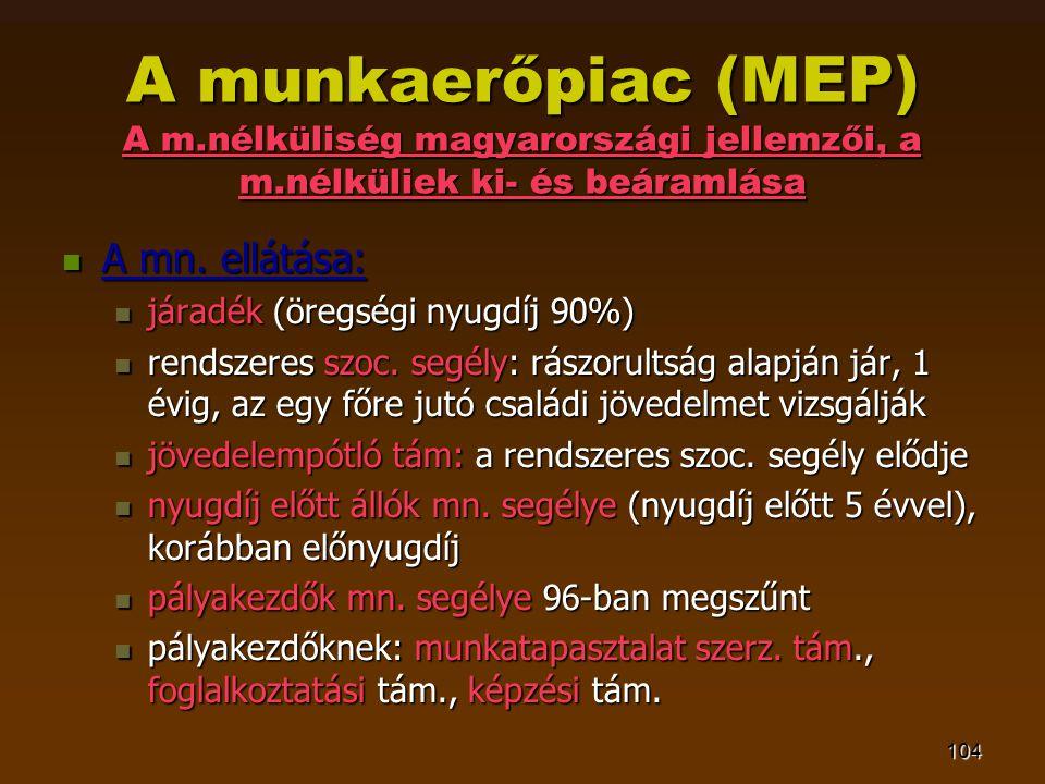 104 A munkaerőpiac (MEP) A m.nélküliség magyarországi jellemzői, a m.nélküliek ki- és beáramlása  A mn. ellátása:  járadék (öregségi nyugdíj 90%) 