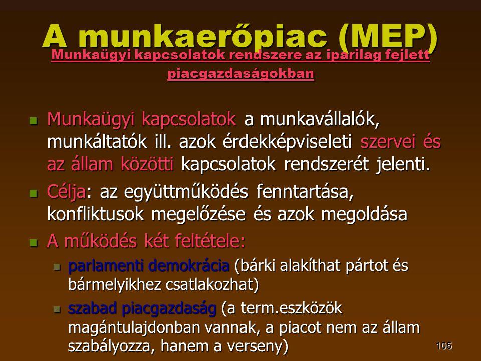 105 A munkaerőpiac (MEP) Munkaügyi kapcsolatok rendszere az iparilag fejlett piacgazdaságokban  Munkaügyi kapcsolatok a munkavállalók, munkáltatók ill.