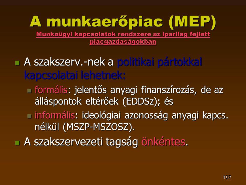 107 A munkaerőpiac (MEP) Munkaügyi kapcsolatok rendszere az iparilag fejlett piacgazdaságokban  A szakszerv.-nek a politikai pártokkal kapcsolatai le