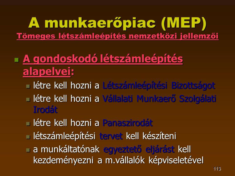 113 A munkaerőpiac (MEP) Tömeges létszámleépítés nemzetközi jellemzői  A gondoskodó létszámleépítés alapelvei:  létre kell hozni a Létszámleépítési