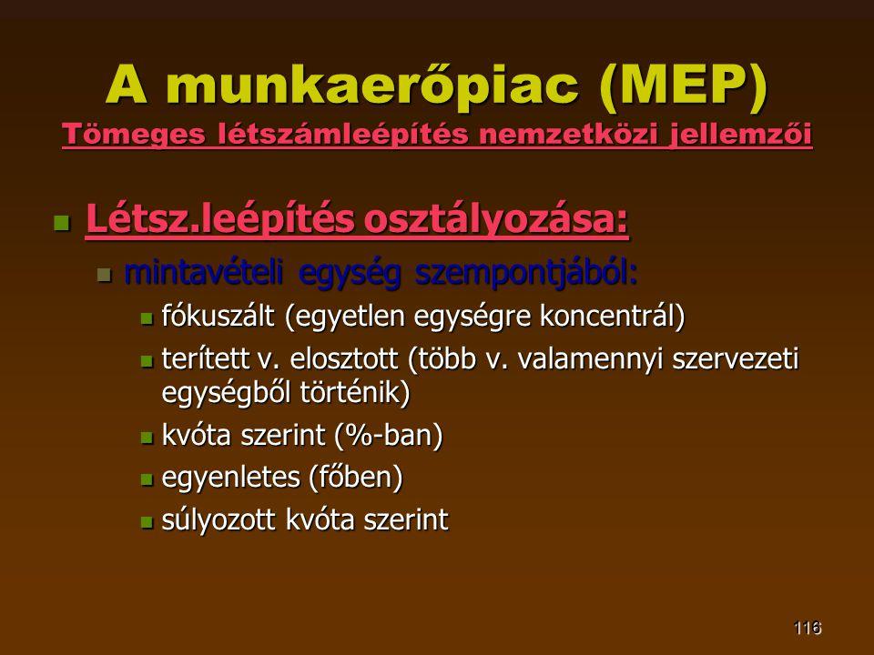 116 A munkaerőpiac (MEP) Tömeges létszámleépítés nemzetközi jellemzői  Létsz.leépítés osztályozása:  mintavételi egység szempontjából:  fókuszált (egyetlen egységre koncentrál)  terített v.