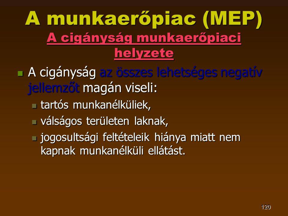 120 A munkaerőpiac (MEP) A cigányság munkaerőpiaci helyzete  A cigányság az összes lehetséges negatív jellemzőt magán viseli:  tartós munkanélküliek