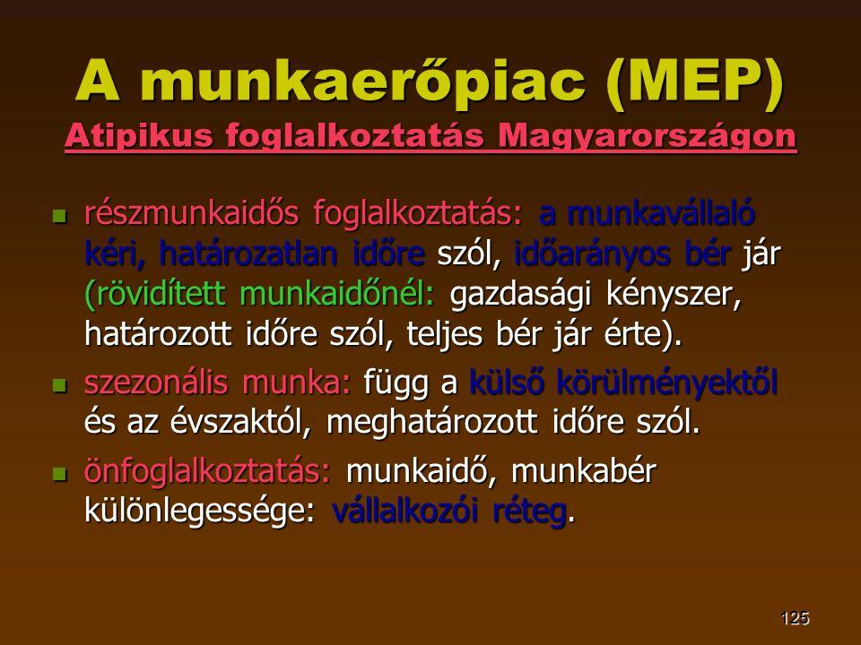 125 A munkaerőpiac (MEP) Atipikus foglalkoztatás Magyarországon  részmunkaidős foglalkoztatás: a munkavállaló kéri, határozatlan időre szól, időarányos bér jár (rövidített munkaidőnél: gazdasági kényszer, határozott időre szól, teljes bér jár érte).