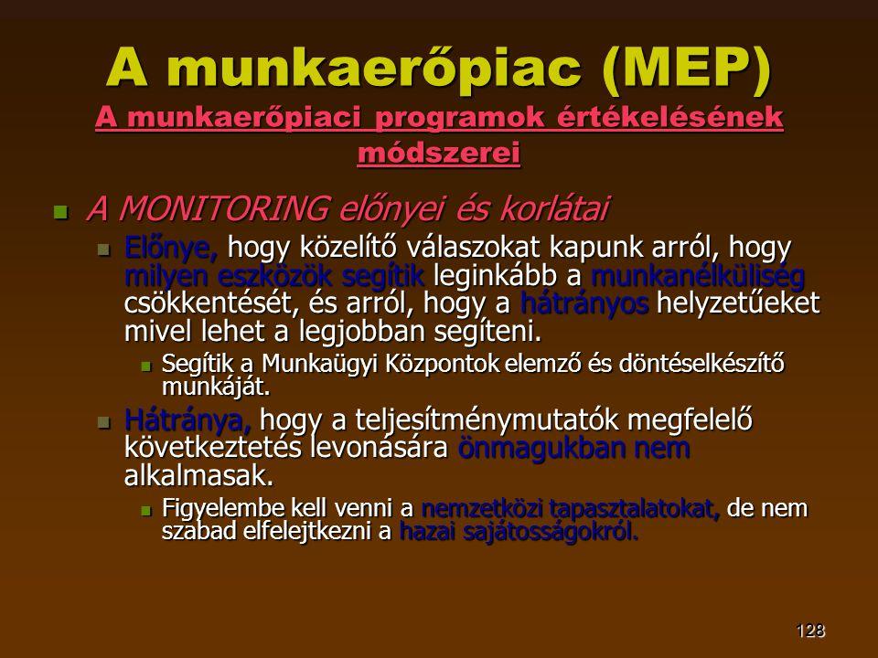 128 A munkaerőpiac (MEP) A munkaerőpiaci programok értékelésének módszerei  A MONITORING előnyei és korlátai  Előnye, hogy közelítő válaszokat kapun