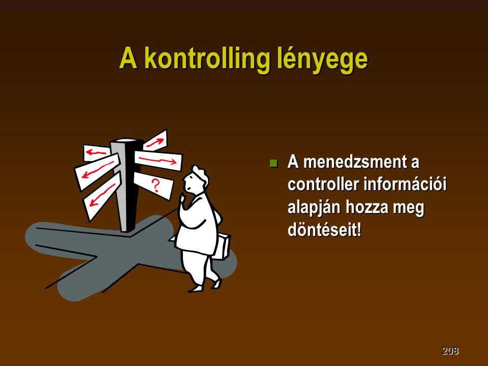 208 A kontrolling lényege  A menedzsment a controller információi alapján hozza meg döntéseit!