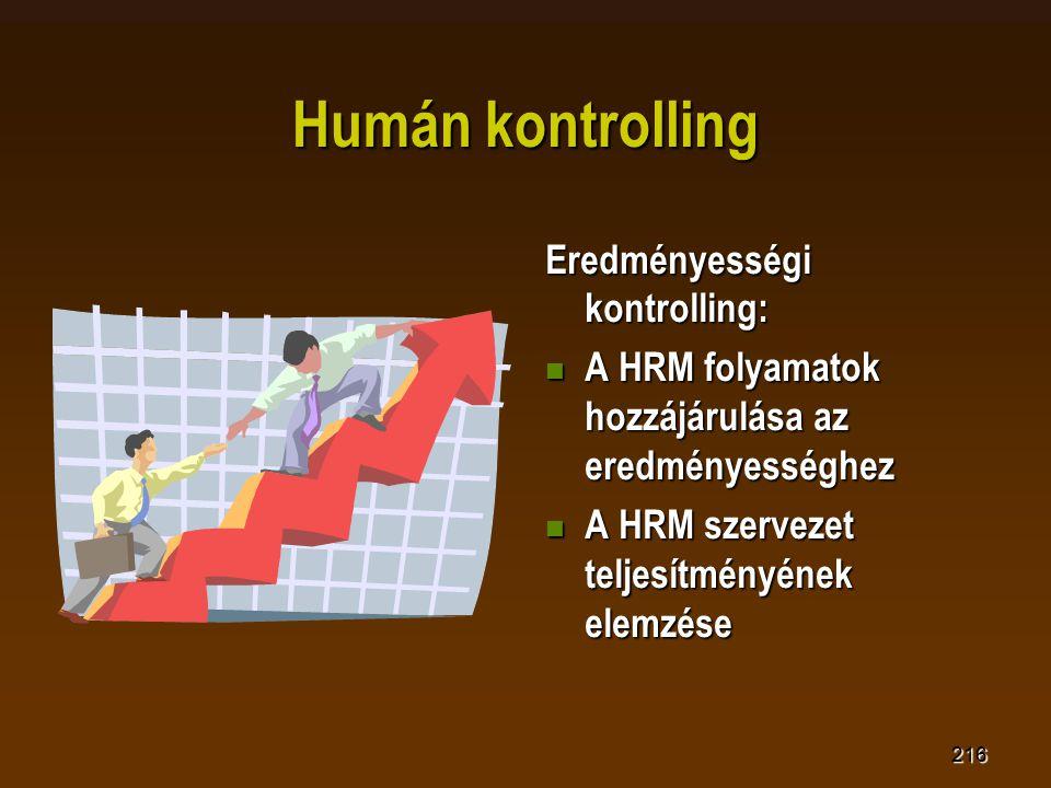 216 Humán kontrolling Eredményességi kontrolling:  A HRM folyamatok hozzájárulása az eredményességhez  A HRM szervezet teljesítményének elemzése