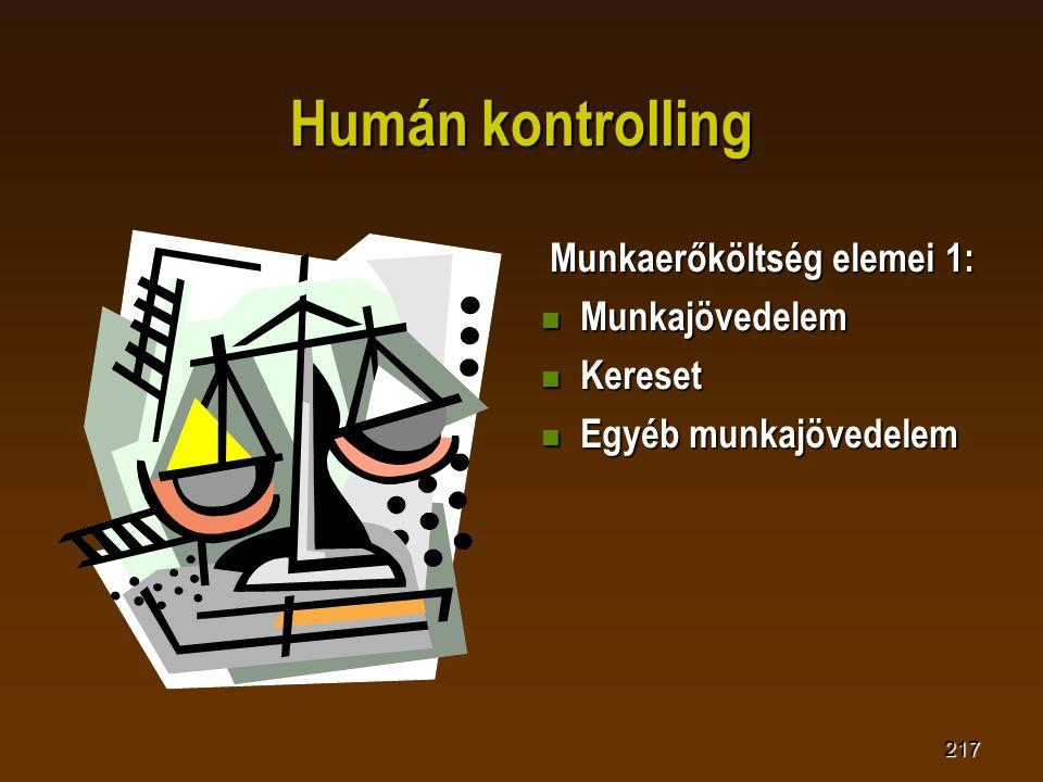 217 Humán kontrolling Munkaerőköltség elemei 1: Munkaerőköltség elemei 1:  Munkajövedelem  Kereset  Egyéb munkajövedelem