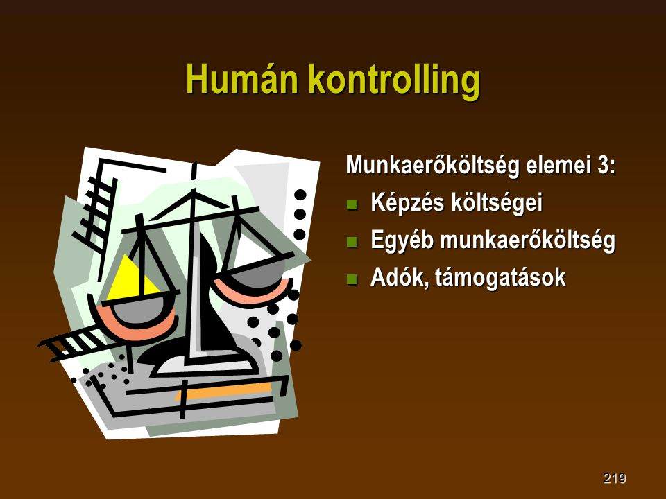 219 Humán kontrolling Munkaerőköltség elemei 3:  Képzés költségei  Egyéb munkaerőköltség  Adók, támogatások