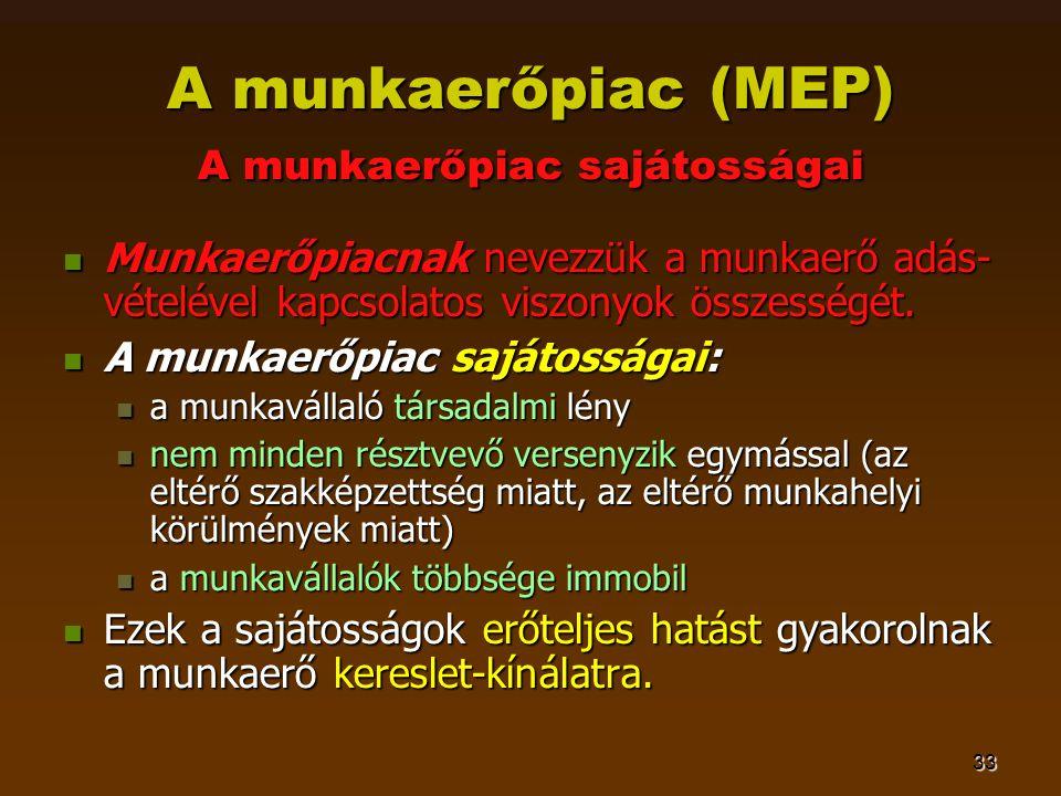 33 A munkaerőpiac (MEP) A munkaerőpiac sajátosságai  Munkaerőpiacnak nevezzük a munkaerő adás- vételével kapcsolatos viszonyok összességét.  A munka