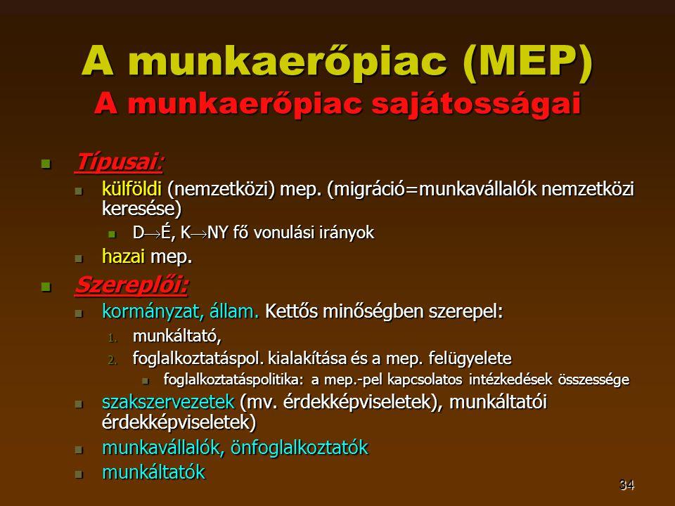 34 A munkaerőpiac (MEP) A munkaerőpiac sajátosságai  Típusai:  külföldi (nemzetközi) mep. (migráció=munkavállalók nemzetközi keresése)  D  É, K 