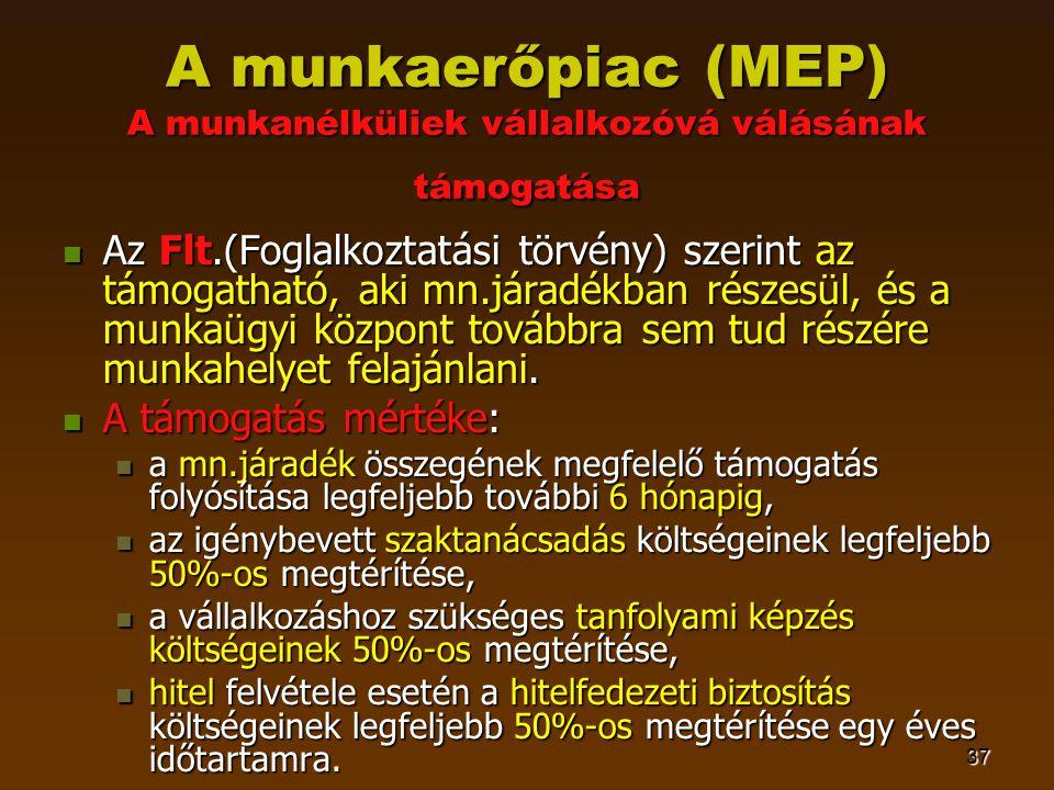37 A munkaerőpiac (MEP) A munkanélküliek vállalkozóvá válásának támogatása  Az Flt.(Foglalkoztatási törvény) szerint az támogatható, aki mn.járadékban részesül, és a munkaügyi központ továbbra sem tud részére munkahelyet felajánlani.