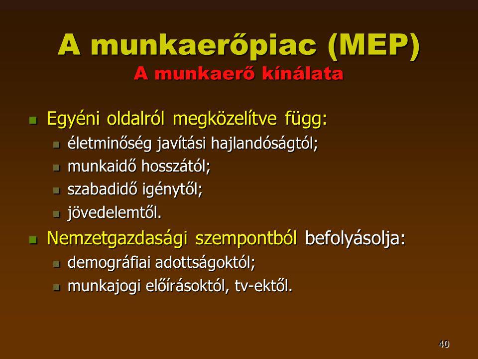 40 A munkaerőpiac (MEP) A munkaerő kínálata  Egyéni oldalról megközelítve függ:  életminőség javítási hajlandóságtól;  munkaidő hosszától;  szabadidő igénytől;  jövedelemtől.