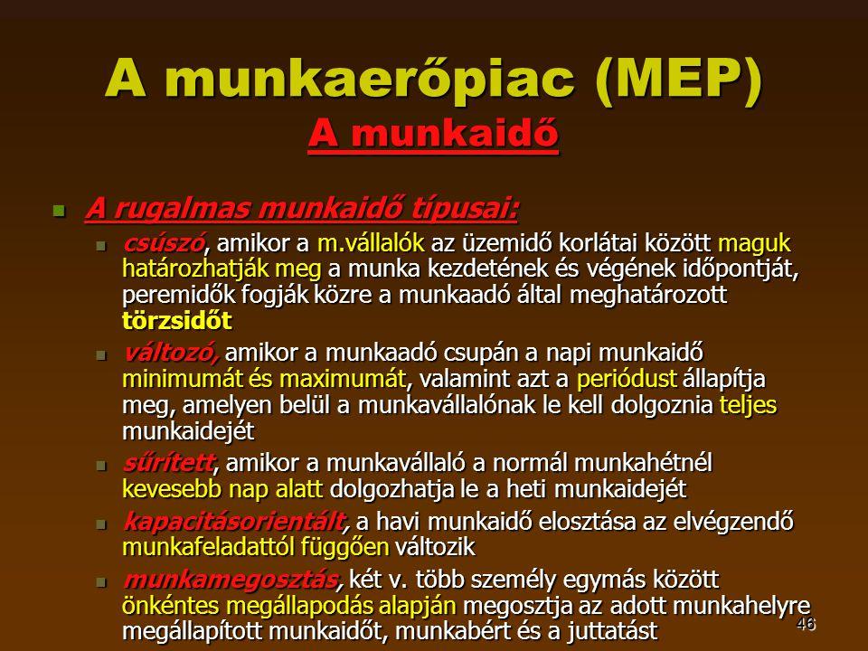 46 A munkaerőpiac (MEP) A munkaidő  A rugalmas munkaidő típusai:  csúszó, amikor a m.vállalók az üzemidő korlátai között maguk határozhatják meg a m
