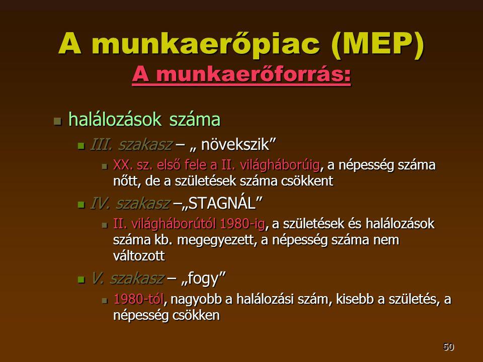 50 A munkaerőpiac (MEP) A munkaerőforrás:  halálozások száma  III.