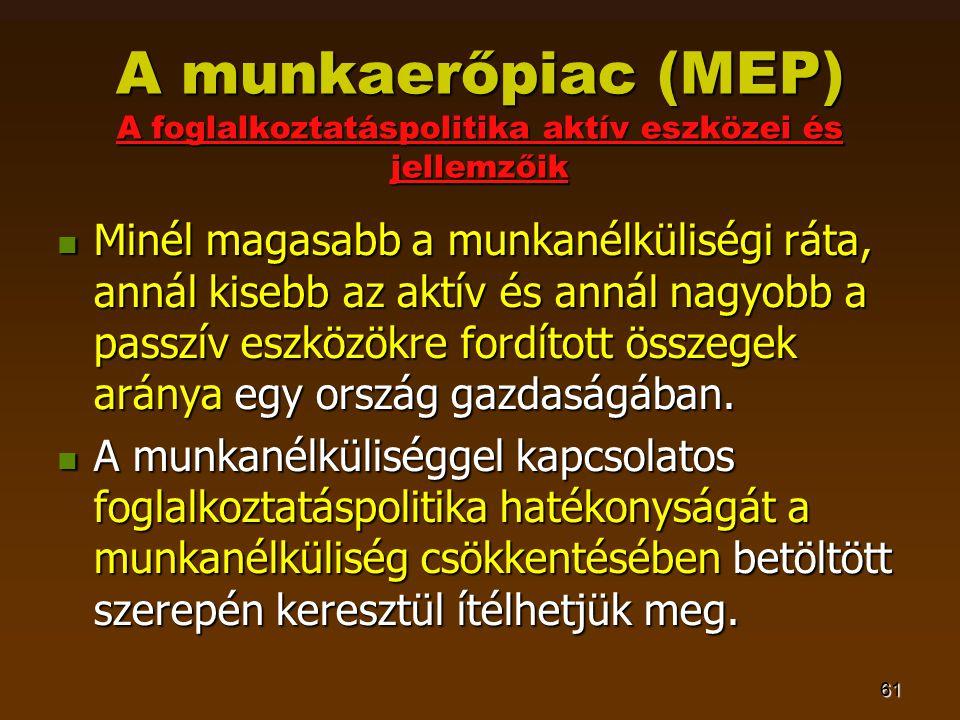 61 A munkaerőpiac (MEP) A foglalkoztatáspolitika aktív eszközei és jellemzőik  Minél magasabb a munkanélküliségi ráta, annál kisebb az aktív és annál nagyobb a passzív eszközökre fordított összegek aránya egy ország gazdaságában.