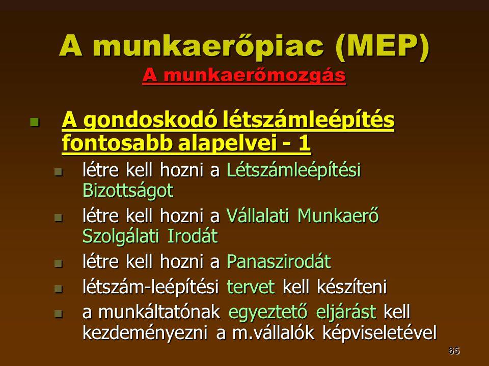 65 A munkaerőpiac (MEP) A munkaerőmozgás  A gondoskodó létszámleépítés fontosabb alapelvei - 1  létre kell hozni a Létszámleépítési Bizottságot  létre kell hozni a Vállalati Munkaerő Szolgálati Irodát  létre kell hozni a Panaszirodát  létszám-leépítési tervet kell készíteni  a munkáltatónak egyeztető eljárást kell kezdeményezni a m.vállalók képviseletével