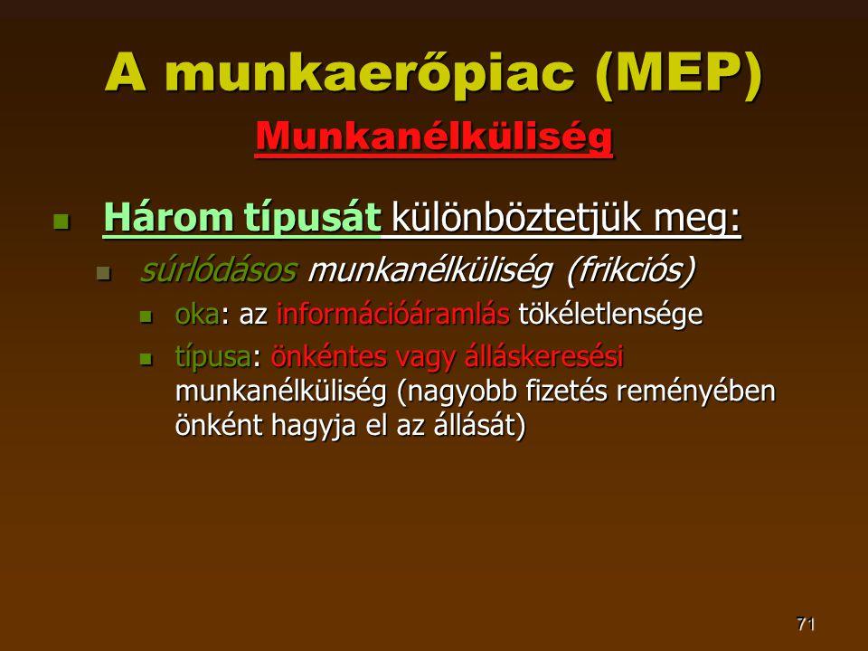 71 A munkaerőpiac (MEP) Munkanélküliség  Három típusát különböztetjük meg:  súrlódásos munkanélküliség (frikciós)  oka: az információáramlás tökéletlensége  típusa: önkéntes vagy álláskeresési munkanélküliség (nagyobb fizetés reményében önként hagyja el az állását)