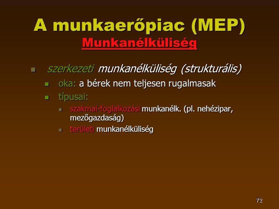 72 A munkaerőpiac (MEP) Munkanélküliség  szerkezeti munkanélküliség (strukturális)  oka: a bérek nem teljesen rugalmasak  típusai:  szakmai-fogla