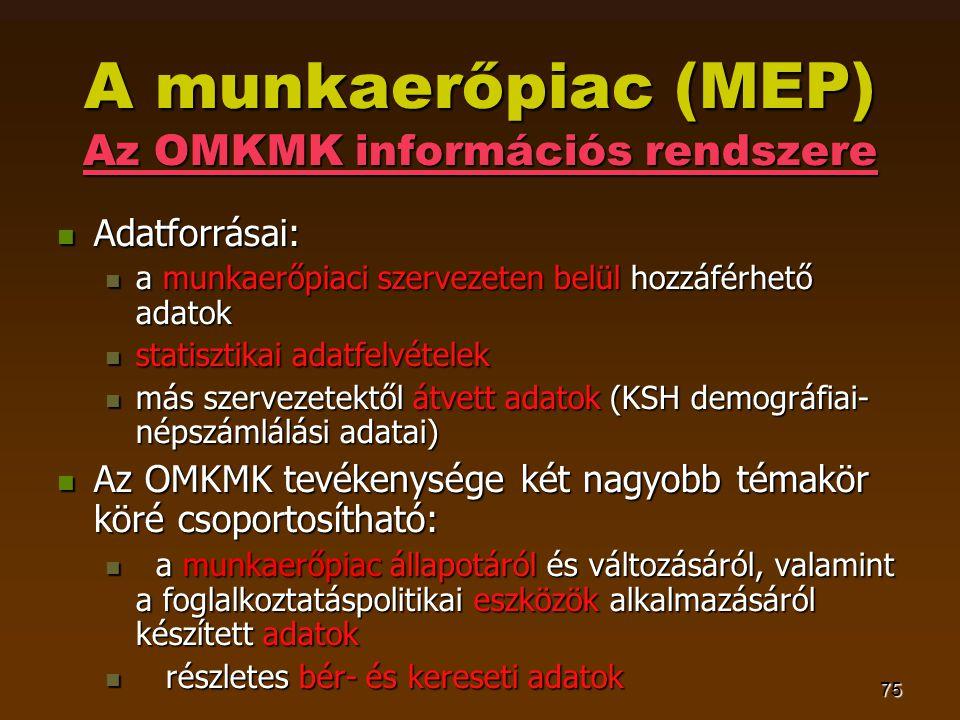 75 A munkaerőpiac (MEP) Az OMKMK információs rendszere  Adatforrásai:  a munkaerőpiaci szervezeten belül hozzáférhető adatok  statisztikai adatfelvételek  más szervezetektől átvett adatok (KSH demográfiai- népszámlálási adatai)  Az OMKMK tevékenysége két nagyobb témakör köré csoportosítható:  a munkaerőpiac állapotáról és változásáról, valamint a foglalkoztatáspolitikai eszközök alkalmazásáról készített adatok  részletes bér- és kereseti adatok