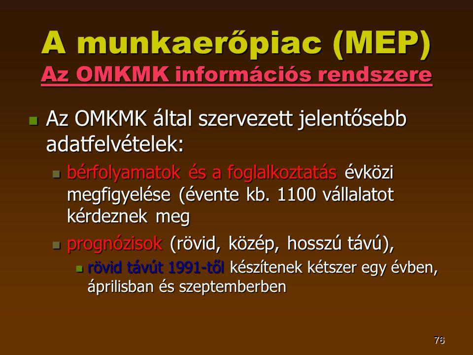 76 A munkaerőpiac (MEP) Az OMKMK információs rendszere  Az OMKMK által szervezett jelentősebb adatfelvételek:  bérfolyamatok és a foglalkoztatás évközi megfigyelése (évente kb.