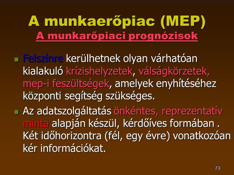 78 A munkaerőpiac (MEP) A munkarőpiaci prognózisok  Felszínre kerülhetnek olyan várhatóan kialakuló krízishelyzetek, válságkörzetek, mep-i feszültség