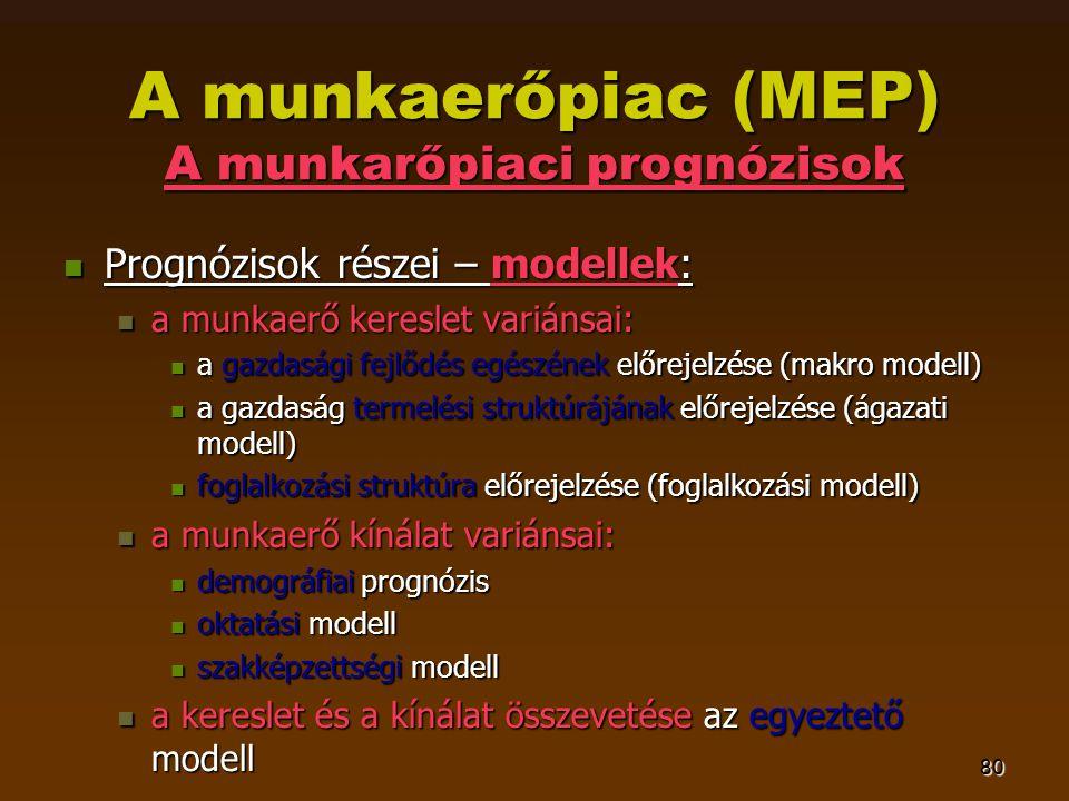 80 A munkaerőpiac (MEP) A munkarőpiaci prognózisok  Prognózisok részei – modellek:  a munkaerő kereslet variánsai:  a gazdasági fejlődés egészének előrejelzése (makro modell)  a gazdaság termelési struktúrájának előrejelzése (ágazati modell)  foglalkozási struktúra előrejelzése (foglalkozási modell)  a munkaerő kínálat variánsai:  demográfiai prognózis  oktatási modell  szakképzettségi modell  a kereslet és a kínálat összevetése az egyeztető modell
