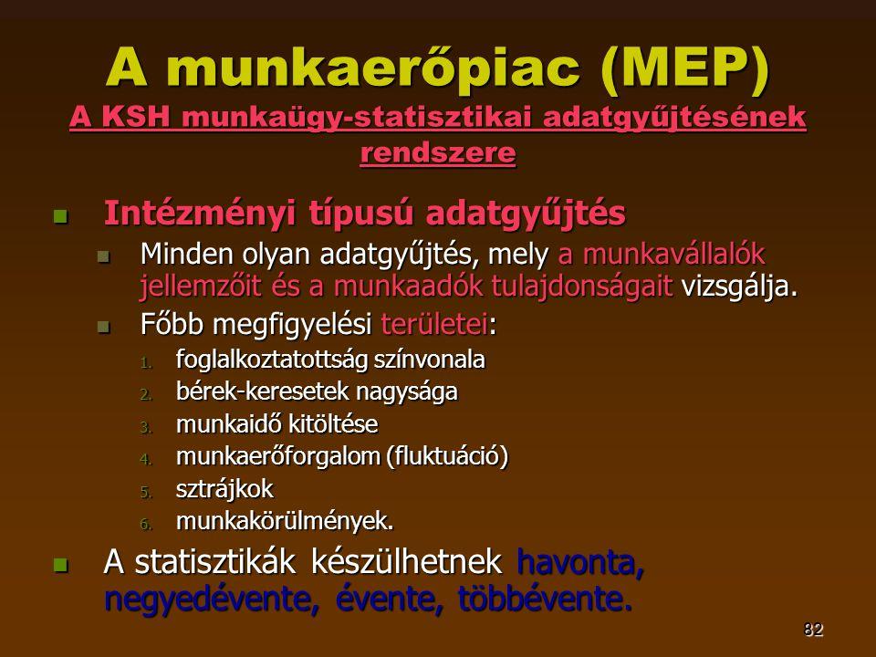 82 A munkaerőpiac (MEP) A KSH munkaügy-statisztikai adatgyűjtésének rendszere  Intézményi típusú adatgyűjtés  Minden olyan adatgyűjtés, mely a munkavállalók jellemzőit és a munkaadók tulajdonságait vizsgálja.