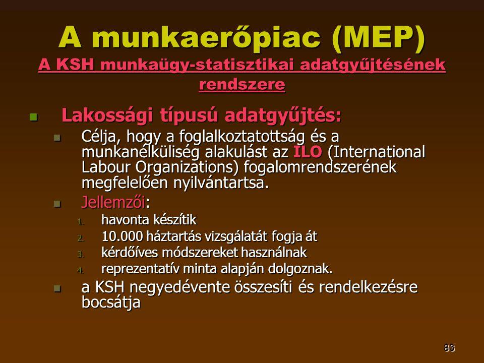 83 A munkaerőpiac (MEP) A KSH munkaügy-statisztikai adatgyűjtésének rendszere  Lakossági típusú adatgyűjtés:  Célja, hogy a foglalkoztatottság és a munkanélküliség alakulást az ILO (International Labour Organizations) fogalomrendszerének megfelelően nyilvántartsa.
