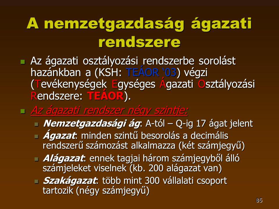 85 A nemzetgazdaság ágazati rendszere  Az ágazati osztályozási rendszerbe sorolást hazánkban a (KSH: TEÁOR '03) végzi (Tevékenységek Egységes Ágazati
