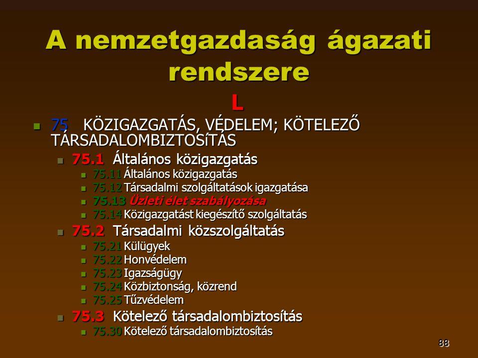88 A nemzetgazdaság ágazati rendszere L  75 KÖZIGAZGATÁS, VÉDELEM; KÖTELEZŐ TÁRSADALOMBIZTOSíTÁS  75.1 Általános közigazgatás  75.11 Általános közi