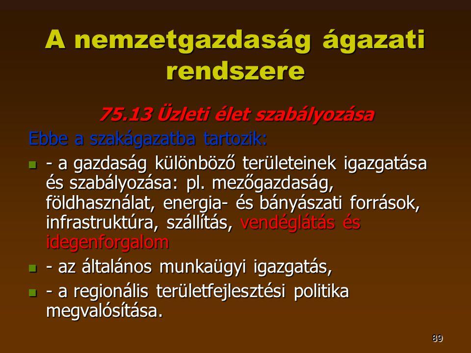 89 A nemzetgazdaság ágazati rendszere 75.13 Üzleti élet szabályozása Ebbe a szakágazatba tartozik:  - a gazdaság különböző területeinek igazgatása és szabályozása: pl.