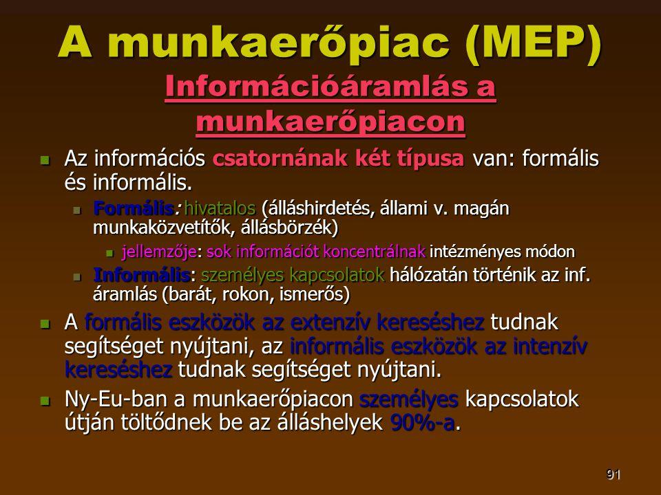 91 A munkaerőpiac (MEP) Információáramlás a munkaerőpiacon  Az információs csatornának két típusa van: formális és informális.  Formális: hivatalos