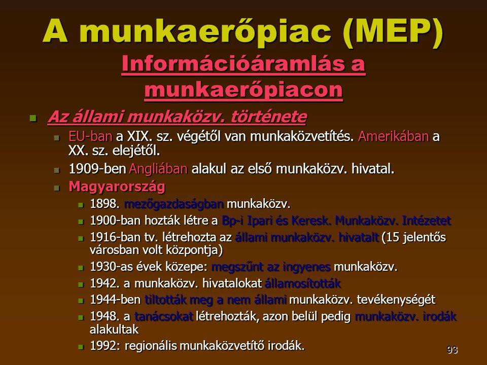 93 A munkaerőpiac (MEP) Információáramlás a munkaerőpiacon  Az állami munkaközv. története  EU-ban a XIX. sz. végétől van munkaközvetítés. Amerikába