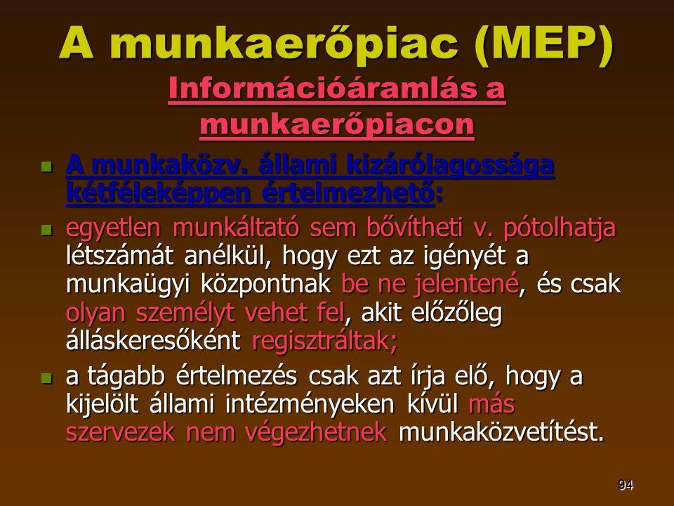 94 A munkaerőpiac (MEP) Információáramlás a munkaerőpiacon  A munkaközv. állami kizárólagossága kétféleképpen értelmezhető:  egyetlen munkáltató sem