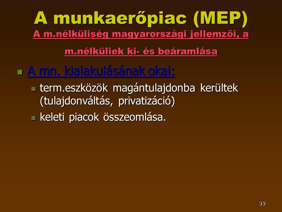 99 A munkaerőpiac (MEP) A m.nélküliség magyarországi jellemzői, a m.nélküliek ki- és beáramlása  A mn. kialakulásának okai:  term.eszközök magántula