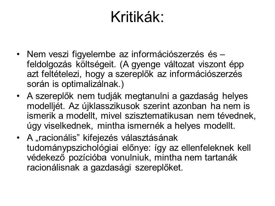 Kritikák: •Nem veszi figyelembe az információszerzés és – feldolgozás költségeit. (A gyenge változat viszont épp azt feltételezi, hogy a szereplők az