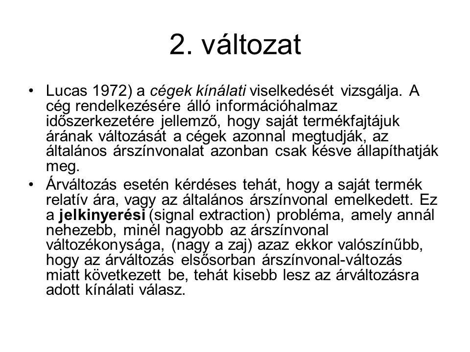 2. változat •Lucas 1972) a cégek kínálati viselkedését vizsgálja. A cég rendelkezésére álló információhalmaz időszerkezetére jellemző, hogy saját term