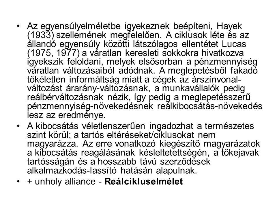 •Az egyensúlyelméletbe igyekeznek beépíteni, Hayek (1933) szellemének megfelelően. A ciklusok léte és az állandó egyensúly közötti látszólagos ellenté