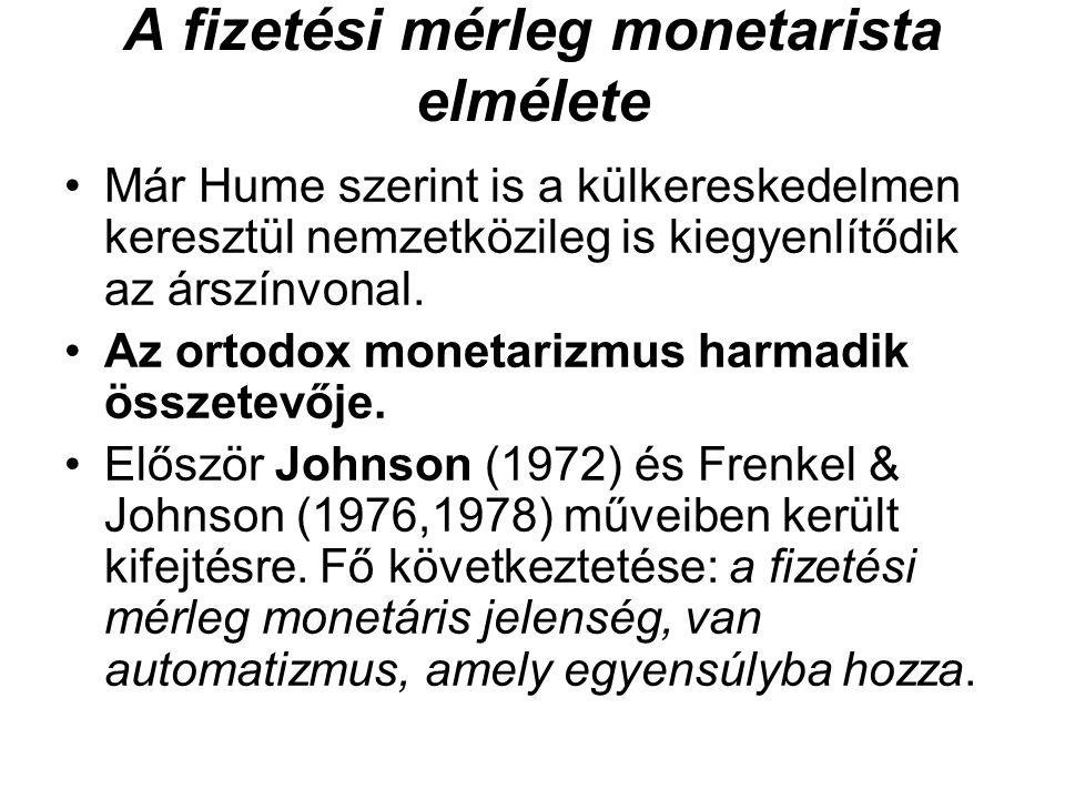 A fizetési mérleg monetarista elmélete •Már Hume szerint is a külkereskedelmen keresztül nemzetközileg is kiegyenlítődik az árszínvonal. •Az ortodox m