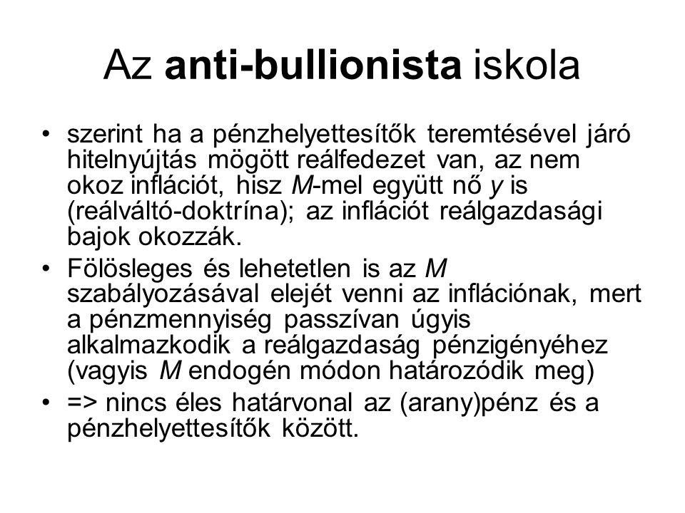 Az anti-bullionista iskola •szerint ha a pénzhelyettesítők teremtésével járó hitelnyújtás mögött reálfedezet van, az nem okoz inflációt, hisz M-mel eg