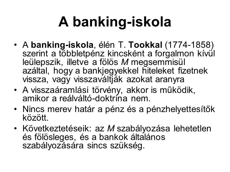 A banking-iskola •A banking-iskola, élén T. Tookkal (1774-1858) szerint a többletpénz kincsként a forgalmon kívül leülepszik, illetve a fölös M megsem