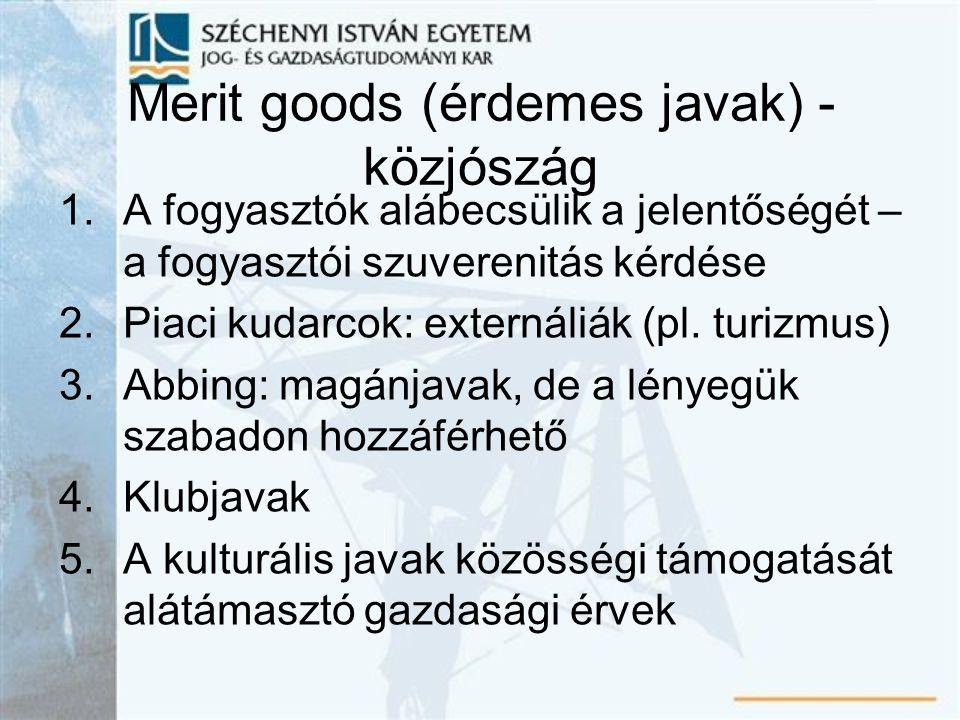 Merit goods (érdemes javak) - közjószág 1.A fogyasztók alábecsülik a jelentőségét – a fogyasztói szuverenitás kérdése 2.Piaci kudarcok: externáliák (p