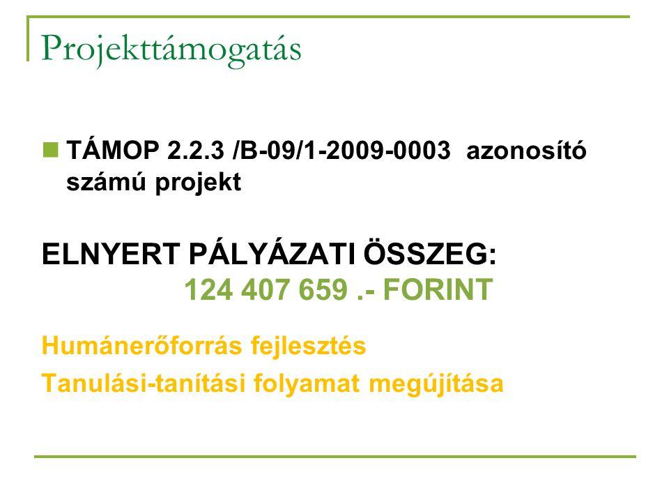 Projekttámogatás  TÁMOP 2.2.3 /B-09/1-2009-0003 azonosító számú projekt ELNYERT PÁLYÁZATI ÖSSZEG: 124 407 659.- FORINT Humánerőforrás fejlesztés Tanulási-tanítási folyamat megújítása